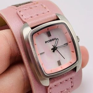 NWOT Fossil Leather Cuff Mother Pearl Watch